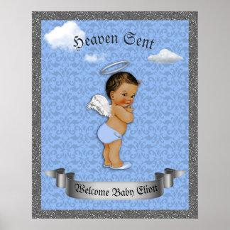 Poster Baby Shower Boy,  Prince boy, blue, 16x20