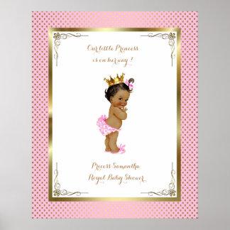 Poster Baby Shower Girl,  Princess, pink, 16x20