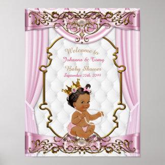 Poster Baby Shower Girl,  Princess, pink, 8.5x11