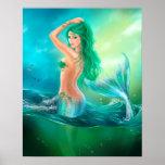 Poster-Beautiful mermaid at ocean on waves Poster