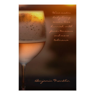 Poster: Benjamin Franklin Wine Quote Poster