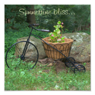 Poster Bicycle Pink Flowers in Basket