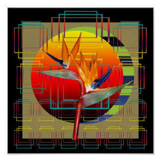Poster | Bird of Paradise Flower Sunset Geometric