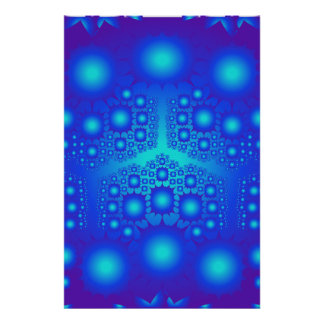 Poster: Blue Fractal Explosions Poster