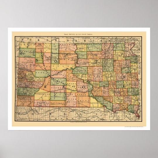 Poster Carte 1892 de chemin de fer du Dakota du Sud