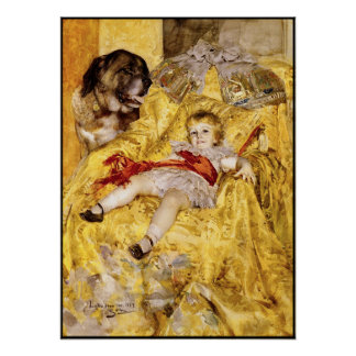 Poster: Child & Saint Bernard: Art by Anders Zorn Poster