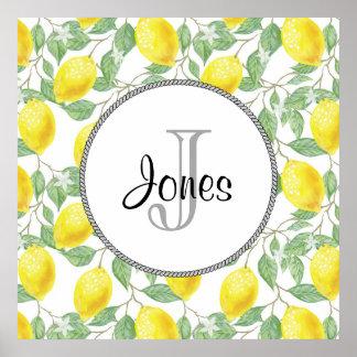 Poster Citrons jaunes avec le monogramme vert de motif de