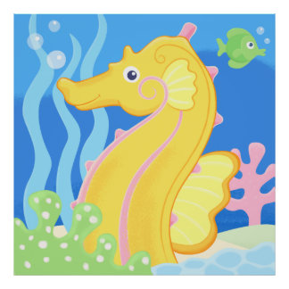poster - cute tropical sea horse