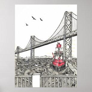 Dessin Du Pont De San Francisco posters & affiches pont san francisco   zazzle.ca
