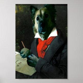 Poster Dogoven, musicien de chien au travail