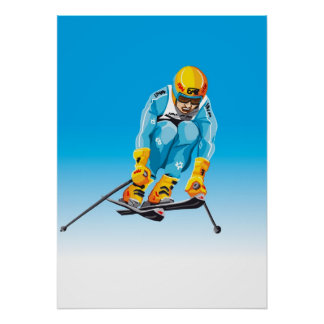 Poster Downhill Skier Jumping Winter Sport