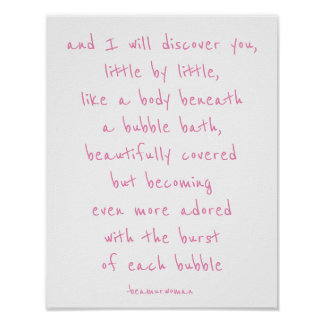 poster for framing i will discover you bubble bath