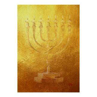 Poster Golden Menorah Judaica