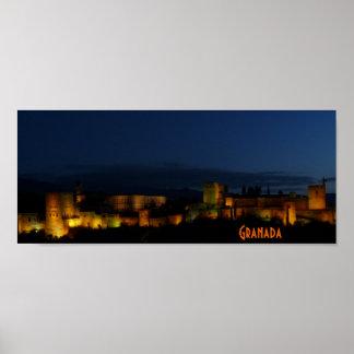 Poster, illuminated Alhambra, Granada Poster