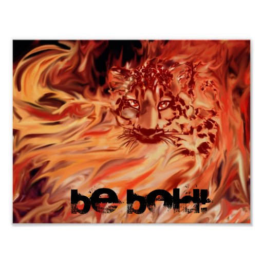 Poster, leopard in flames poster