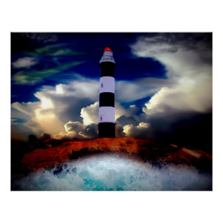 Poster/Lighthouse with Waves Poster