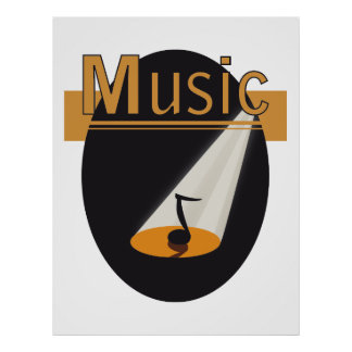 Poster - music note in spotlight design Music
