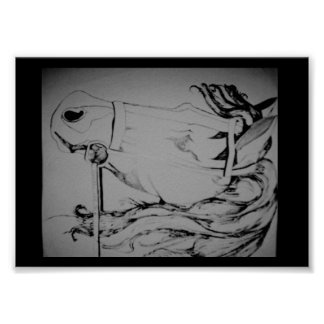 Poster of a Pen and Ink drawing of a Horse