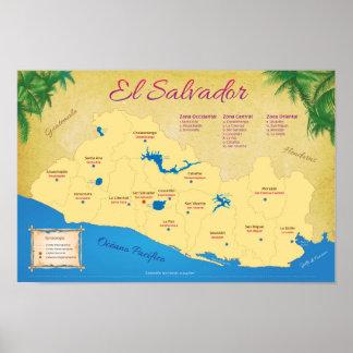 Poster of El Salvador, Departments