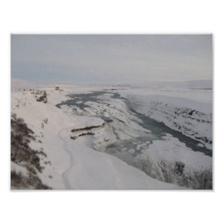 Poster of Iceland's Gullfoss Waterfall (In Snow)