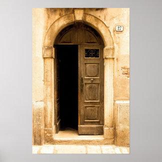 Poster of old door in ancient building, Croatia