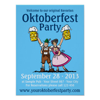 Poster Oktoberfest Party Couple Beer Cheers