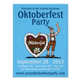 Poster Oktoberfest Party Lederhosen Gingerbread