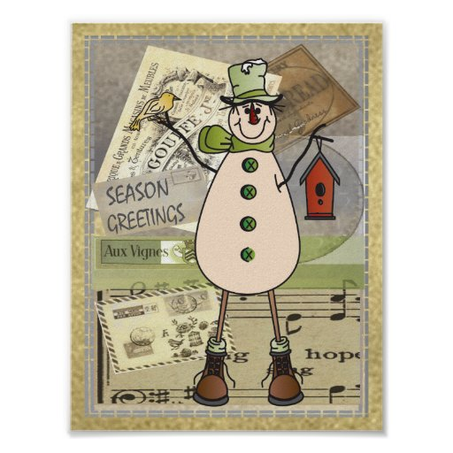 Poster - Old Fashion Green Snowman