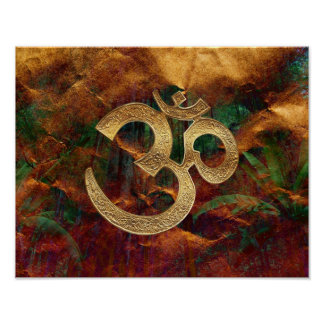 Poster - OM gold with brown green background