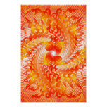 Poster: Orange Spiral Pattern: Vector Drawing Poster