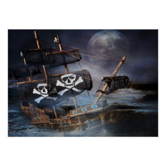 Poster Paper PIRATE GHOST SHIP STRANDED ON ROCKS