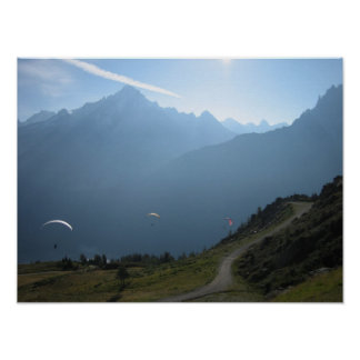 Poster: Paragliders Chamonix Valley France Poster