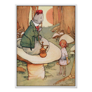 Poster Print: Alice Meets the Caterpillar