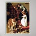 Poster Print:  Good Night - with St. Bernard