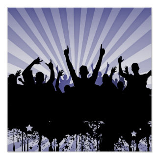 POSTER/PRINT Grunge Party Crowd Silhouette Indigo Poster