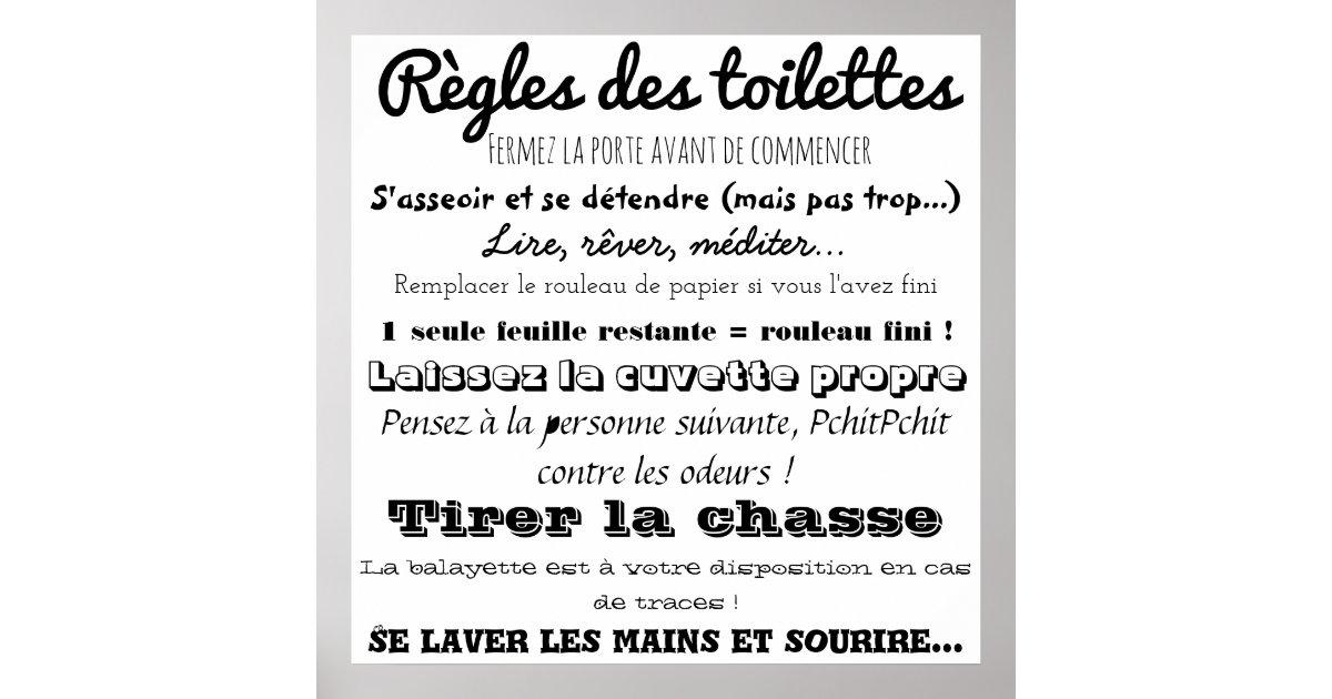 Poster Règles Des Toilettes Zazzleca