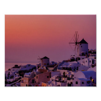 Poster - Santorini Oia Village at Sunset - Greece