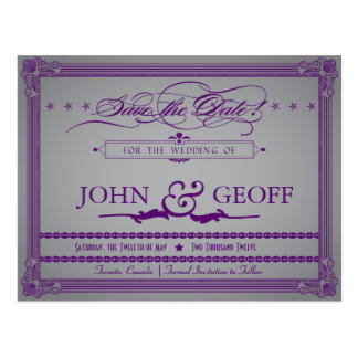 Poster Style Aubergine & Grey Save the Date Postcard