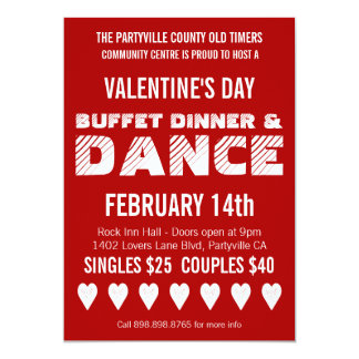 """Poster Style Valentine's Day Dance Party 5"""" X 7"""" Invitation Card"""