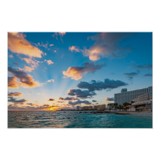 Poster - Sunrise over Punta Cancun, Mexico