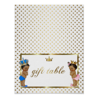 poster table sign twins,white,gold,8.5x11