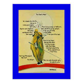 POSTER ~THE CLOWN'S PRAYER OUTLINES PLAYFUL CLOWN!