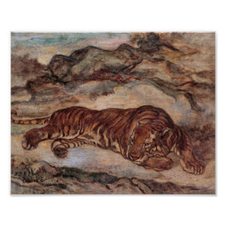 """Poster """"Tiger in Repose"""" by Antoine-Louis Barye"""