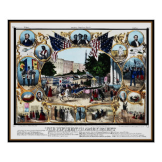 Poster Vintage 15th Amendment Celebration 1870