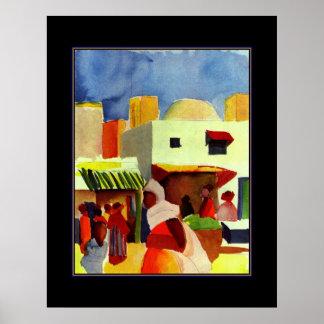 Poster Vintage Art August Macke Algiers Market