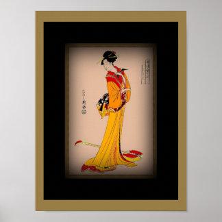 Poster Vintage Art Geisha With Yellow Red Kimono