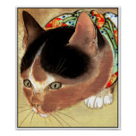 "Poster: Vintage Cat Art: ""Curious Kitty Cat"" Poster"