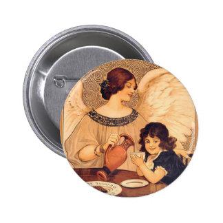 Poster vintage d'ange de sucrerie de partie de macaron rond 5 cm