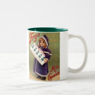 Poster vintage de chocolat du lait des garçons de  tasses