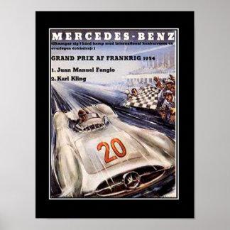 poster vintage de voiture de course des années 195